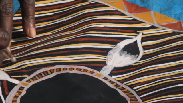 cu shot of painting of aboriginal tiwi art / northern territory, australia - minority groups stock videos & royalty-free footage