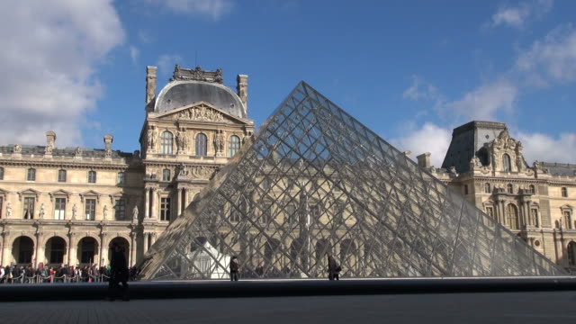 ms shot of palais du louvre and pyramide du louvre / paris, ile de france, france - louvre stock videos and b-roll footage