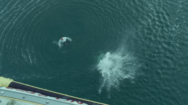 CU AERIAL Shot of paramedic jumping into sea / Cape Town, Western Cape, South Africa