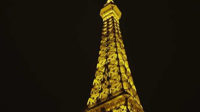 ws la pan pov shot of paris eiffel tower and bally's / las vegas, nevada, united states - bally's las vegas stock videos & royalty-free footage