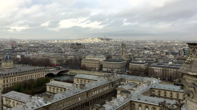 shot of paris from notre dame - basilique du sacre coeur montmartre stock videos and b-roll footage