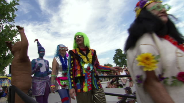 ms shot of participants walking in line during roswell ufo festival costume contest / roswell, new mexico, united states - roswell stock videos & royalty-free footage