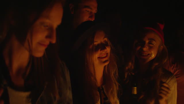 'MS PAN Shot of Party with group of young people at night on rooftop, drinking, smiling, dancing / Berlin, Germany'