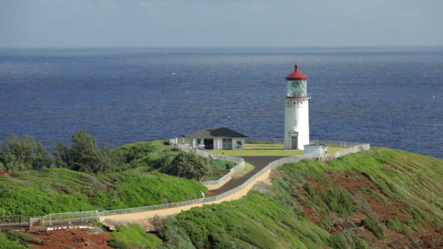 ms shot of path to kilauea lighthouse / kilauea, kauai, kauai, hawaii, united states - isola di kauai video stock e b–roll