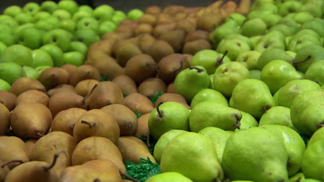 cu pan shot of pears / sydney, new south wales, australia - braun stock-videos und b-roll-filmmaterial