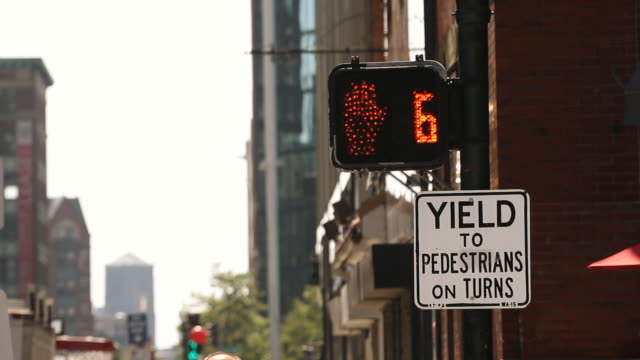 MS Shot of pedestrian crossing count down / Boston, massachusetts, United States