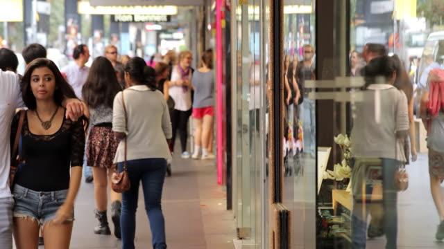 MS T/L Shot of Pedestrian in city / Sydney, CBD New South Wales, Australia