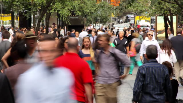 ms t/l shot of pedestrian in city / sydney, cbd new south wales, australia - large group of people stock videos & royalty-free footage