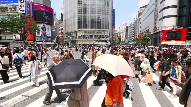 stockvideo's en b-roll-footage met ms pan shot of pedestrians and cars crossing at shibuya crossing / shibuya ku, tokyo, japan - tokyo japan