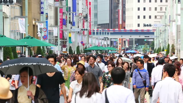 MS TU T/L Shot of pedestrians walking at Ginza dori / Ginza, Chuo ku, Tokyo, Japan