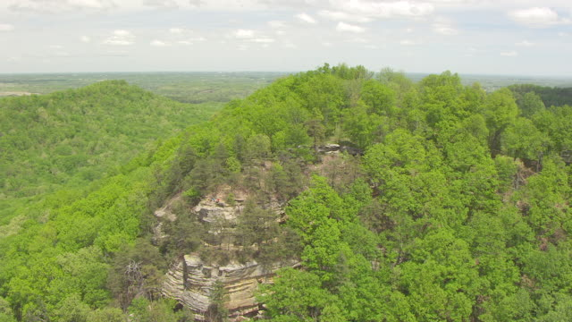 MS AERIAL ZO Shot of people and Boones Overlook at Pilot Knob State Nature Preserve / Kentucky, United States