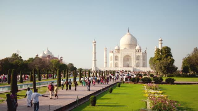 WS T/L Shot of People and tourists walking at Taj Mahal / Agra, Uttar Pradesh, India
