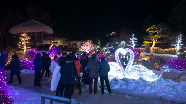 ms t/l shot of people at achimgoyo arboretum on christmas holiday / gapyeong, kyonggi-do province, south korea - kyonggi do province stock videos and b-roll footage