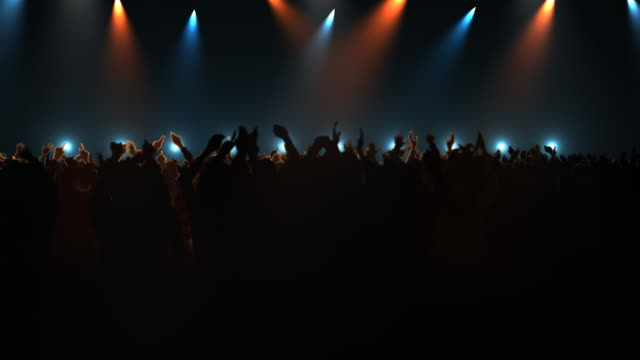 ms shot of people at big concert / bergen, hordaland, norway - stage light stock videos & royalty-free footage