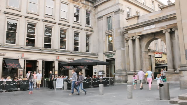MS Shot of People at royal exchange square / Glasgow, Scotland, United States