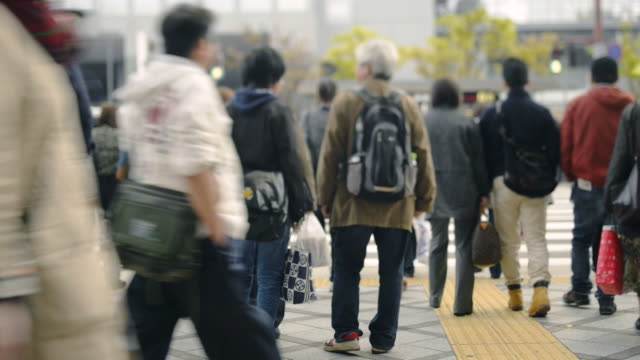 MS Shot of People crossing signal / Kyoto, Japan