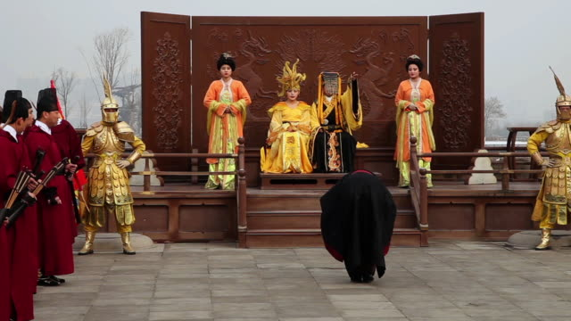 ms shot of people dressed as ancient emperor and queen and officials when hold ceremonies to worship heaven / xian, china - ancient stock videos & royalty-free footage