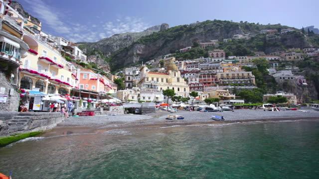 WS LA Shot of people enjoying at beach / Positano, Campania, Italy