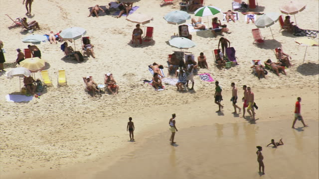ms aerial shot of people enjoying at beach / rio de janeiro, brazil - sunbathing stock videos and b-roll footage
