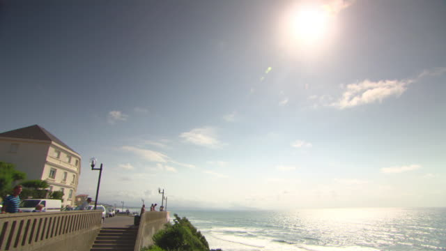 WS PAN Shot of people enjoying at seaside / Biarritz, France