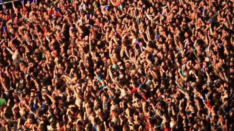 ms shot of people enjoying concert at seoul cityhall plaza / seoul, south korea - concert stock videos & royalty-free footage