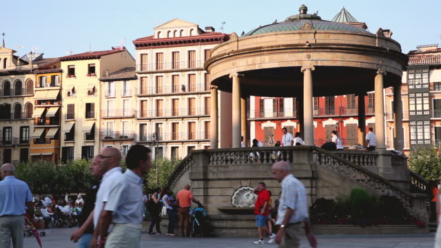 ms shot of people near square / pamplona, navarra, spain - three wheeled pushchair stock videos & royalty-free footage