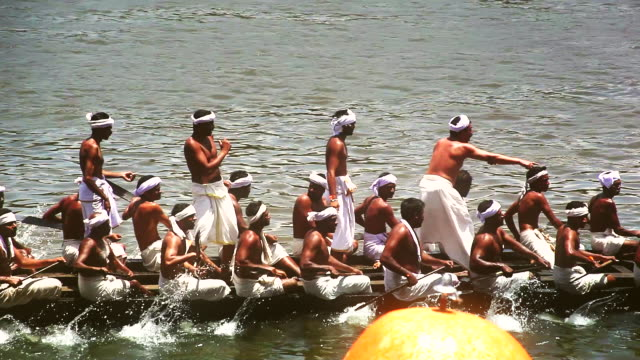ms ts shot of people rowing snake boat in race during onam festival /  aranmula, kerala, india - nautical vessel stock videos & royalty-free footage