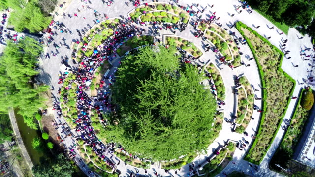 WS AERIAL Shot Of People Singing Traditional Songs In Park MoringXian