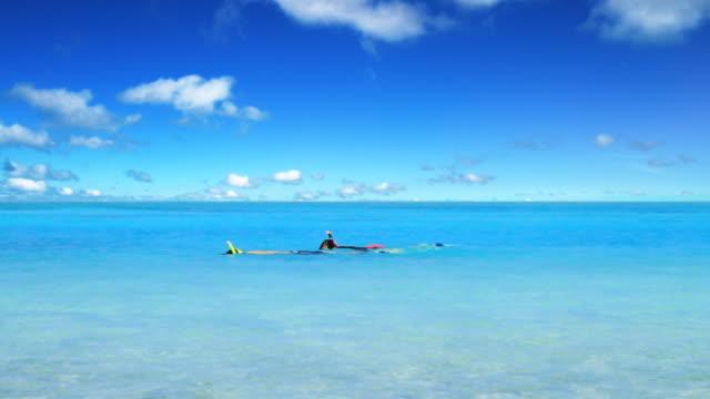 ms shot of people swimming in tropical island / aitutaki, cook islands - aitutaki stock videos & royalty-free footage