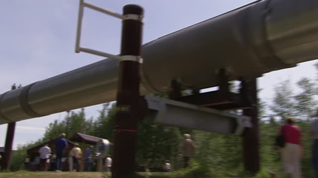 stockvideo's en b-roll-footage met ms zo shot of people walking around and above ground section of trans alaska pipeline / fairbanks, alaska, united states - alaska verenigde staten