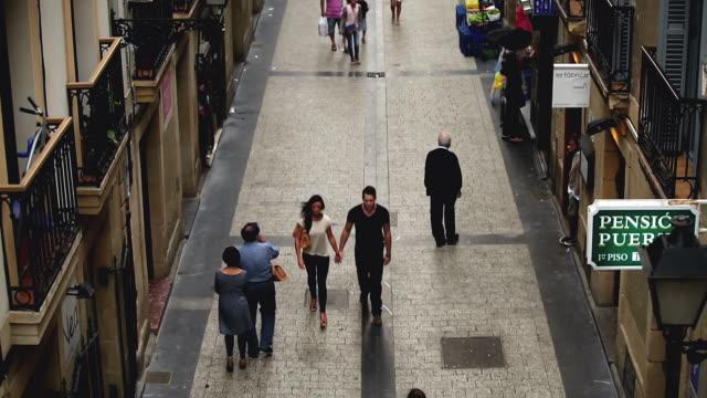 MS TU Shot of people walking in Old Town City / San Sebastian, Guipuzcoa, Spain
