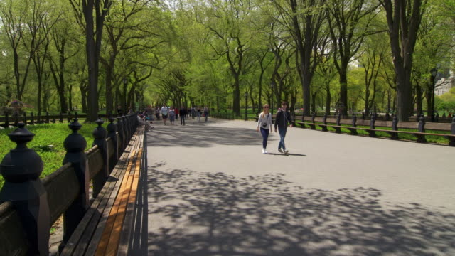 vidéos et rushes de shot of people walking on a path near the bethesda fountain in central park, nyc - central park