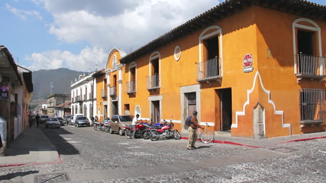ms shot of people walking on street / antigua, guatemala - guatemala stock videos & royalty-free footage