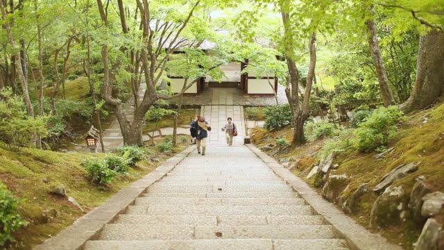 ms shot of people walking through temple in arashiyama area / kyoto, kanto, japan - steps and staircases stock videos & royalty-free footage