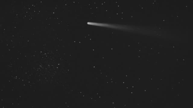 ms pan shot of people watching comet in sky - comet stock videos & royalty-free footage