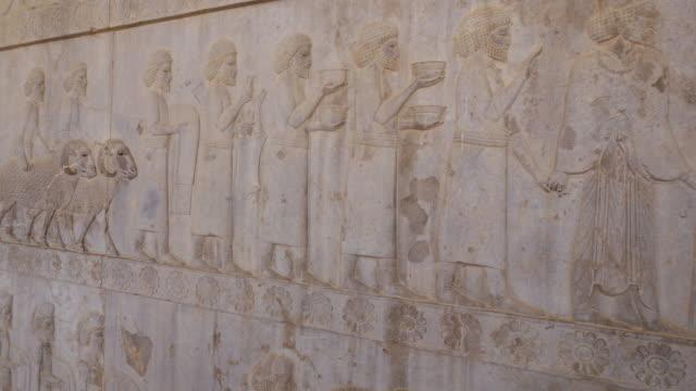 ms pan shot of persepolis, world heritage / shiraz, fars province, iran  - male likeness stock videos & royalty-free footage