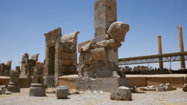 ms pan shot of persepolis, world heritage / shiraz, fars province, iran  - persepoli video stock e b–roll