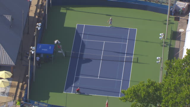 ms aerial shot of person in wheel chair playing tennis at us open usta wheelchair championships / st louis, missouri, united states - tennis stock videos & royalty-free footage