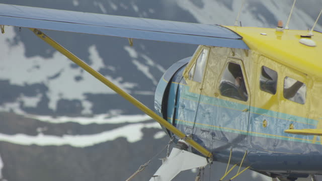 cu aerial shot of person looking out window of sheldon air beaver with binoculars flying en route to denali / alaska, united states - denali national park stock videos & royalty-free footage