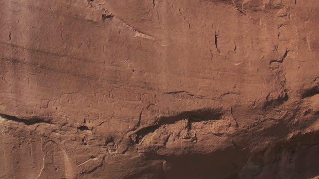 cu aerial zo shot of petroglyphs, ancient runis / bluff,  utah, united states - red rocks stock videos & royalty-free footage
