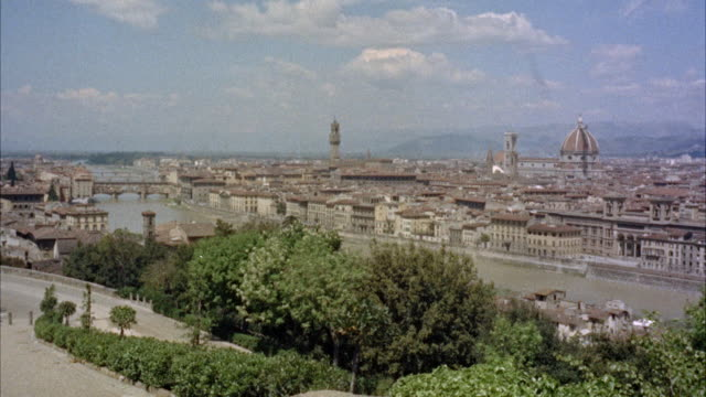 ws pan shot of  piazzale michelangiolo / florence, italy - florence italy stock videos & royalty-free footage
