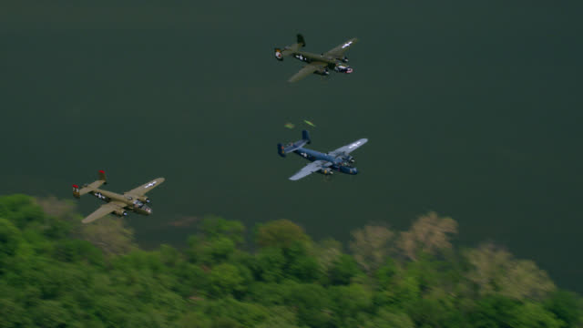 """WS TS AERIAL Shot of Planes fly on 70th Anniversary of VA Day / Washington DC, United States"""