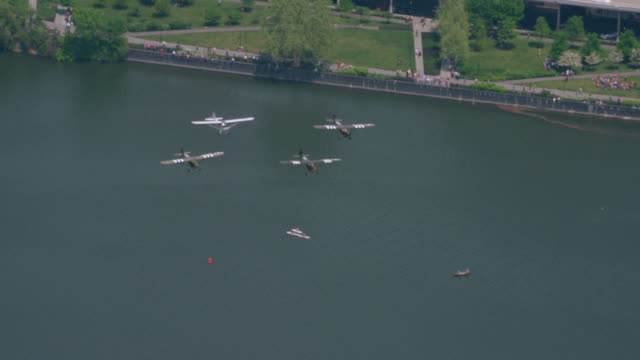 """""""WS TS AERIAL Shot of Planes fly on 70th Anniversary of VA Day / Washington DC, United States"""""""