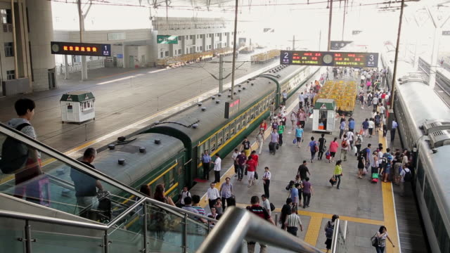 MS Shot of platform of train station / Tianjin, China