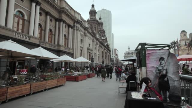 WS Shot of Plaza de Armas / Santiago, Chile