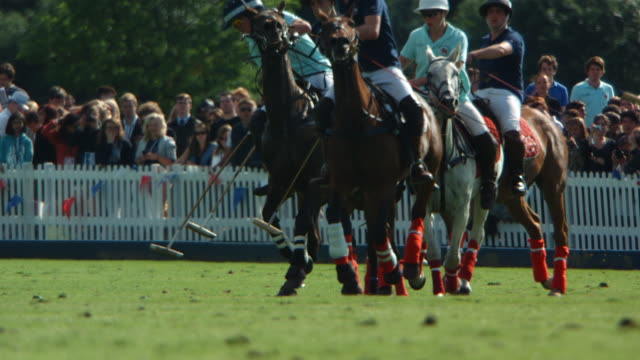 MS SLO MO TS Shot of  polo match / Manchester, United Kingdom