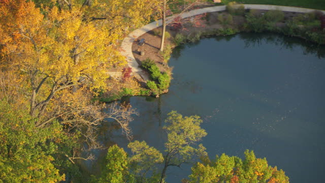 ms ds zo aerial shot of pond and lakeview cemetery / cleveland, ohio, united states - cleveland ohio stock videos and b-roll footage