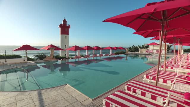 MS Shot of Pool and ocean terrace at The Oyster Box in Umhlanga / Umhlanga, Kwazulu Natal, South Africa