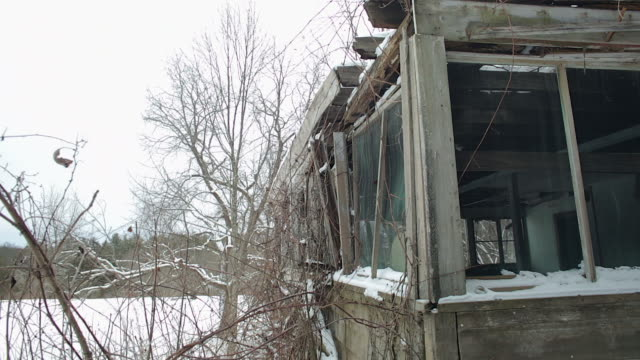 shot of porch windows on an abandoned house - ruined stock videos & royalty-free footage