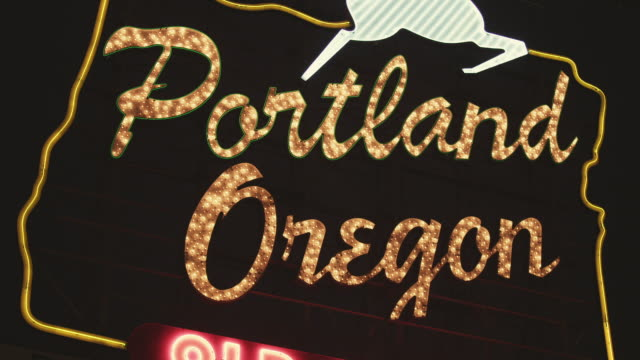 CU Shot of Portland Oregon sign at night / Portland, Oregon, United States